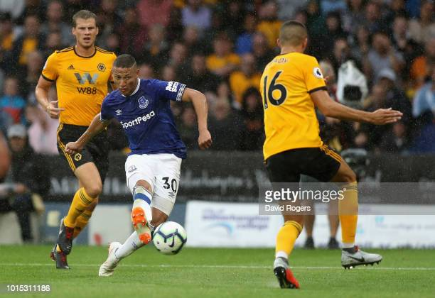 Richarlison of Everton scores his and Everton's second goal during the Premier League match between Wolverhampton Wanderers and Everton FC at...