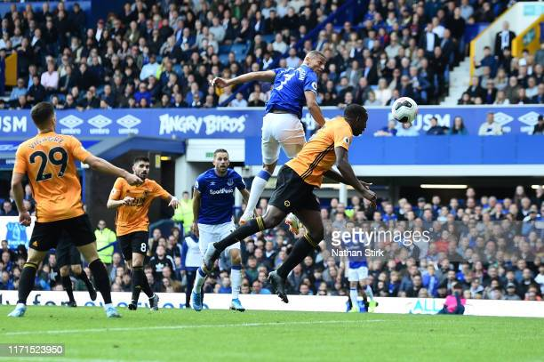 Richarlison of Everton scores his team's third goal during the Premier League match between Everton FC and Wolverhampton Wanderers at Goodison Park...