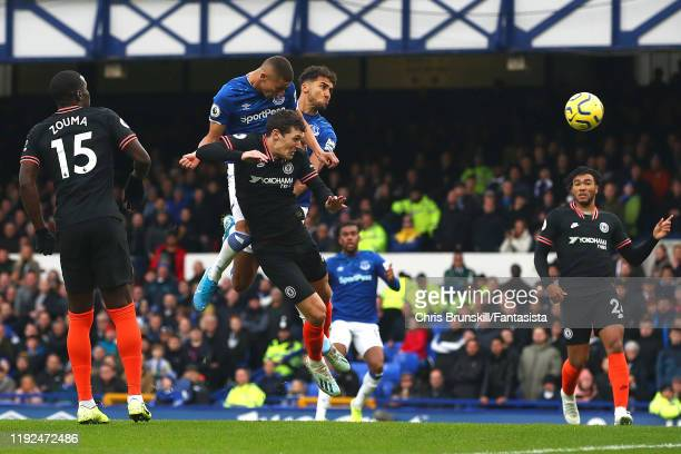 Richarlison of Everton scores the opening goal during the Premier League match between Everton FC and Chelsea FC at Goodison Park on December 07 2019...
