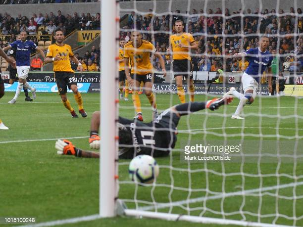 Richarlison of Everton scores the second goal for his team during the Premier League match between Wolverhampton Wanderers and Everton FC at Molineux...