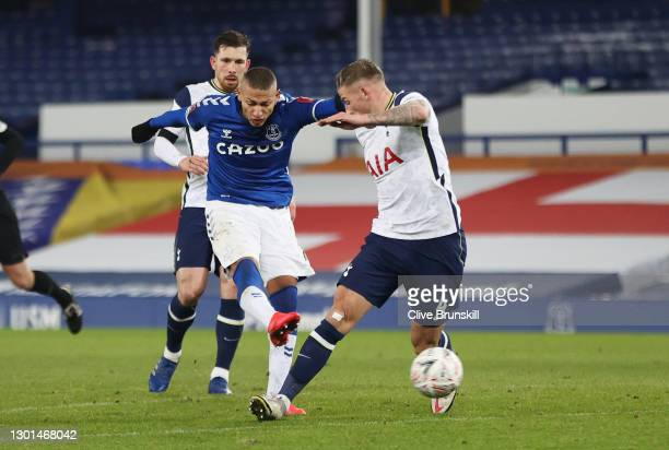 Richarlison of Everton scores their side's second goal whilst under pressure from Toby Alderweireld of Tottenham Hotspur during The Emirates FA Cup...