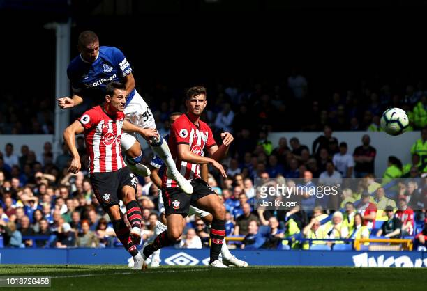 Richarlison of Everton shoots and scores his side's second goal during the Premier League match between Everton FC and Southampton FC at Goodison...