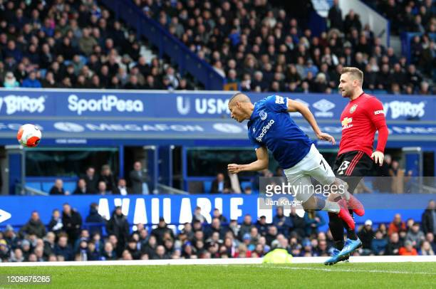 Richarlison of Everton shoots wide during the Premier League match between Everton FC and Manchester United at Goodison Park on March 01 2020 in...