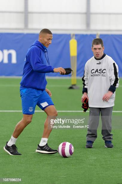 Richarlison of Everton takes part in an Everton in the Community event at USM Finch Farm on September 18 2018 in Halewood England