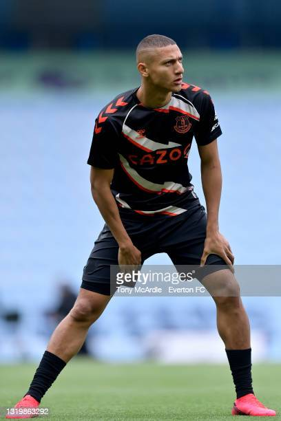 Richarlison of Everton warms up before the Premier League match between Manchester City and Everton at the Etihad Stadium on May 23, 2021 in...