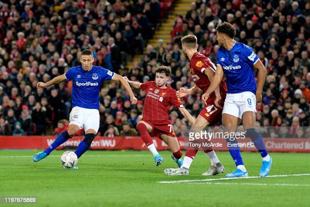 Richarlison of Everton with a chance on goal during the FA Cup Third Round match between Liverpool and Everton at Anfield on January 5 2020 in...