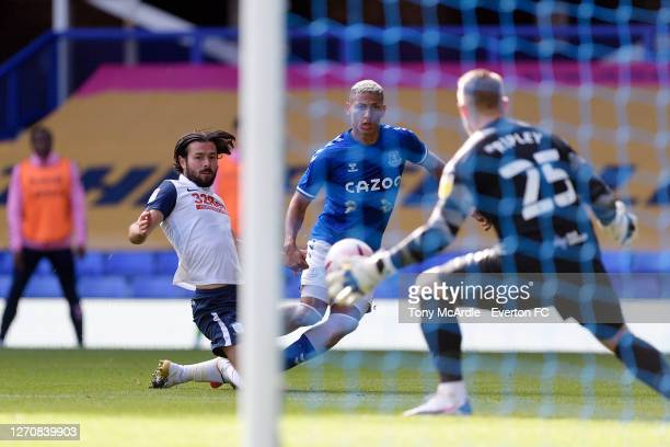 Richarlison of Everton with a chance on goal during the PreSeason Friendly match between Everton and Preston North End at Goodison Park on September...