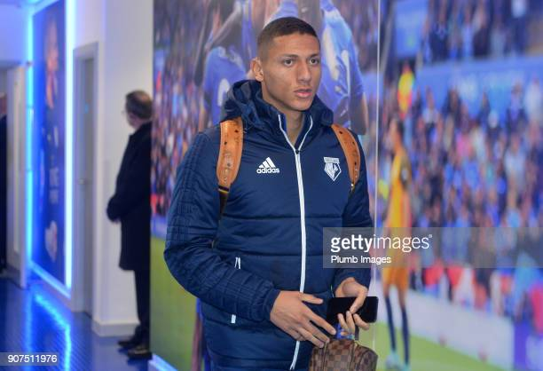 Richarlison of Watford arrives at King Power Stadium ahead of the Premier League match between Leicester City and Watford at King Power Stadium on...