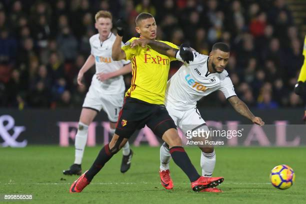 Richarlison of Watford challenges Luciano Narsingh of Swansea City during the Premier League match between Watford and Swansea City at the Vicarage...