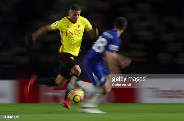 Richarlison of Watford during the Premier League match between Watford and Chelsea at Vicarage Road on February 5 2018 in Watford England