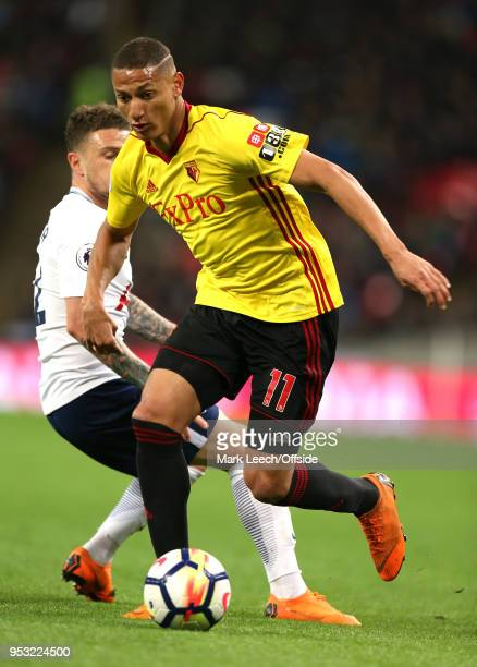Richarlison of Watford during the Premier League match between Tottenham Hotspur and Watford at Wembley Stadium on April 30 2018 in London England