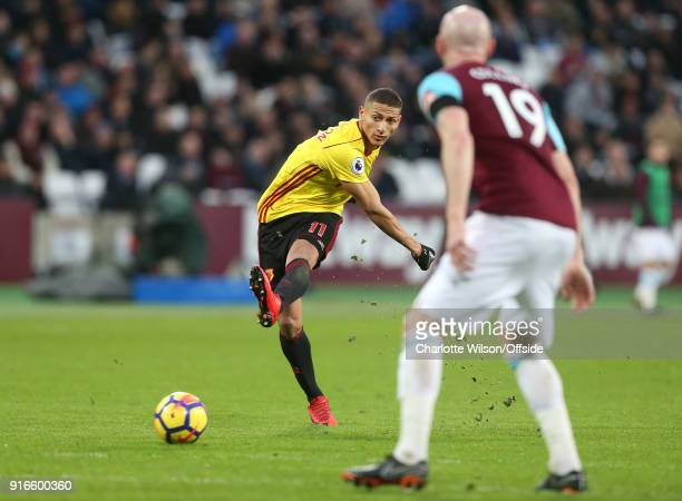 Richarlison of Watford has a shot during the Premier League match between West Ham United and Watford at London Stadium on February 10 2018 in London...