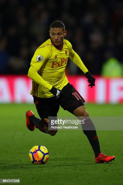 Richarlison of Watford in action during the Premier League match between Watford and Manchester United at Vicarage Road on November 28 2017 in...