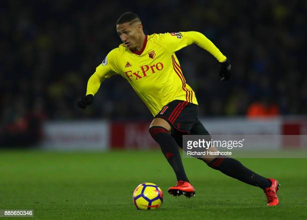 Richarlison of Watford in action during the Premier League match between Watford and Tottenham Hotspur at Vicarage Road on December 02 2017 in...