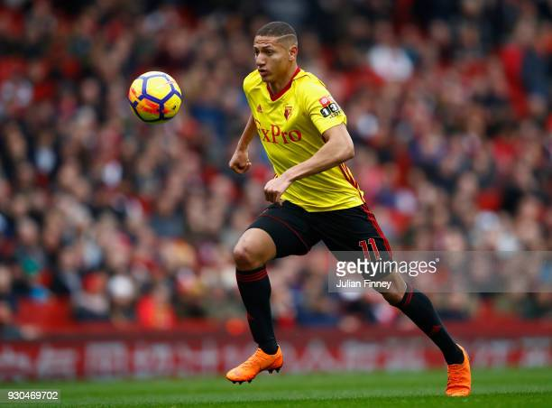Richarlison of Watford in action during the Premier League match between Arsenal and Watford at Emirates Stadium on March 11 2018 in London England