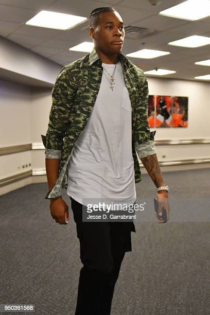 Richaun Holmes of the Philadelphia 76ers arrives before Game One of the Eastern Conference Quarterfinals against the Miami Heat during the 2018 NBA...