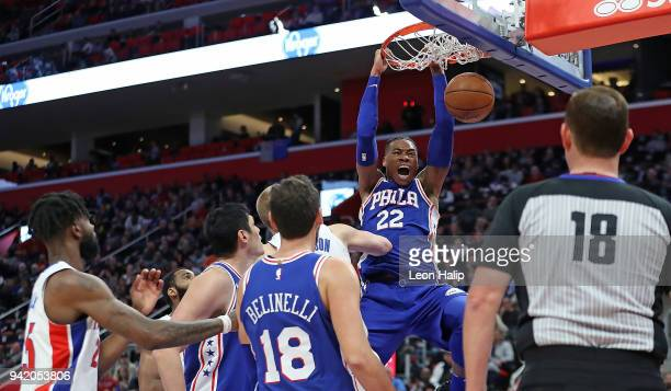 Richaun Holmes of the Philadelphia 76ers celebrates after scoring in the fourth quarter of the game against the Detroit Pistons at Little Caesars...