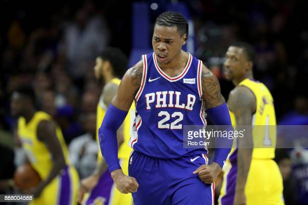 Richaun Holmes of the Philadelphia 76ers celebrates after scoring against the Los Angeles Lakers in the second half at Wells Fargo Center on December...