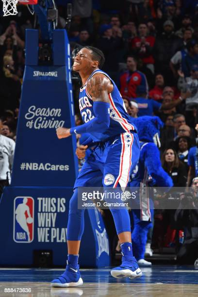 Richaun Holmes of the Philadelphia 76ers celebrates during the game against the Los Angeles Lakers on December 7 2017 at Wells Fargo Center in...