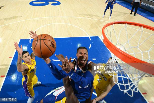 Richaun Holmes of the Philadelphia 76ers drives to the basket against the Los Angeles Lakers on December 7 2017 at Wells Fargo Center in Philadelphia...