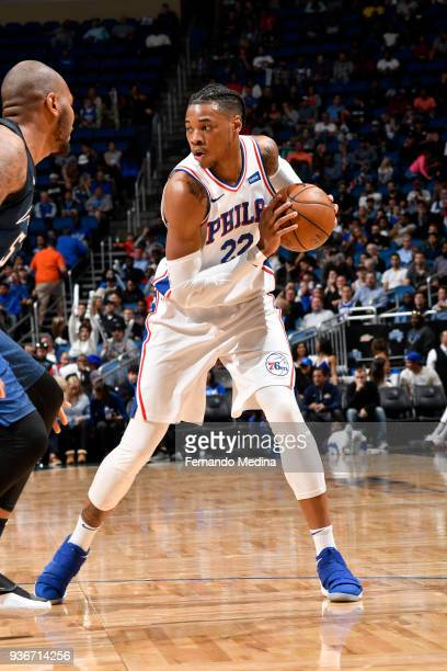 Richaun Holmes of the Philadelphia 76ers handles the ball against the Orlando Magic on March 22 2018 at Amway Center in Orlando Florida NOTE TO USER...