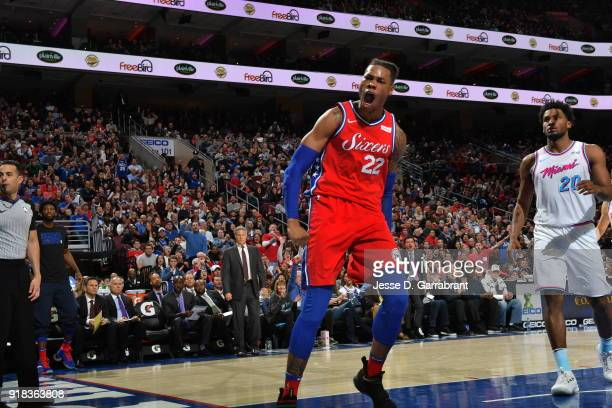 Richaun Holmes of the Philadelphia 76ers reacts after dunking the ball against the Miami Heat at Wells Fargo Center on February 14 2018 in...