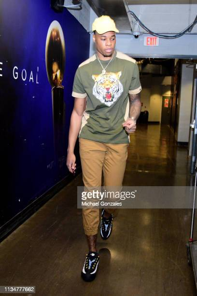 Richaun Holmes of the Phoenix Suns arrives to the arena prior to the game against the Utah Jazz on April 3 2019 at Talking Stick Resort Arena in...