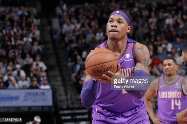 Richaun Holmes of the Phoenix Suns attempts a freethrow shot against the Sacramento Kings on March 23 2019 at Golden 1 Center in Sacramento...