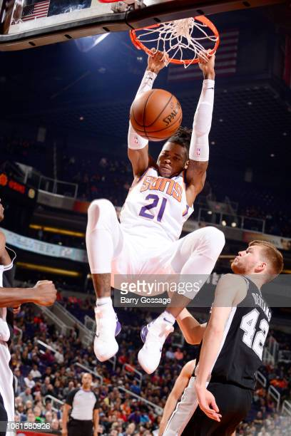 Richaun Holmes of the Phoenix Suns drives to the basket during the game against the San Antonio Spurs on November 14 2018 at Talking Stick Resort...
