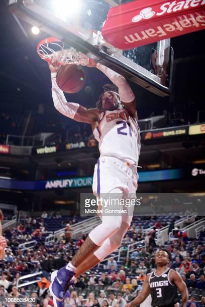 Richaun Holmes of the Phoenix Suns dunks the ball against the Sacramento Kings on December 4 2018 at Talking Stick Resort Arena in Phoenix Arizona...