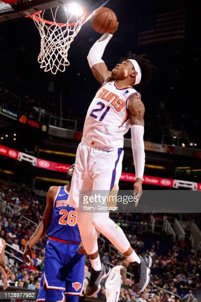Richaun Holmes of the Phoenix Suns dunks the ball against the New York Knicks on March 6 2019 at Talking Stick Resort Arena in Phoenix Arizona NOTE...