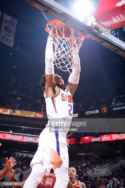 Richaun Holmes of the Phoenix Suns dunks the ball during the game against the Houston Rockets on February 4 2019 at Talking Stick Resort Arena in...
