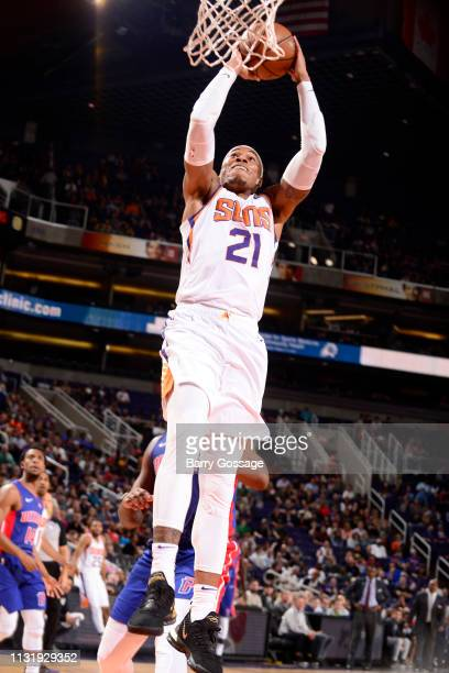 Richaun Holmes of the Phoenix Suns dunks the ball during the game against the Detroit Pistons on March 21 2019 at Talking Stick Resort Arena in...