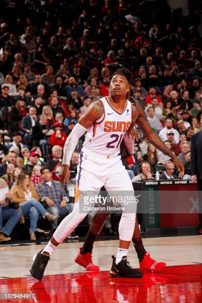 Richaun Holmes of the Phoenix Suns fights for position during the game against the Portland Trail Blazers on March 9 2019 at the Moda Center Arena in...