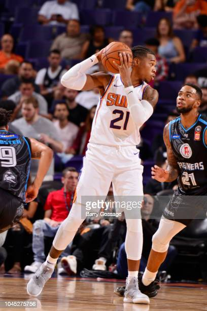 Richaun Holmes of the Phoenix Suns handles the ball against the New Zealand Breakers during a preseason game on October 3 2018 at Talking Stick...