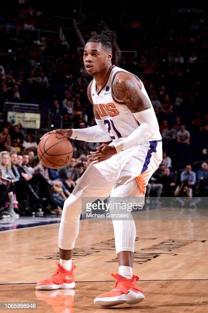 Richaun Holmes of the Phoenix Suns handles the ball against the Indiana Pacers on November 27 2018 at Talking Stick Resort Arena in Phoenix Arizona...