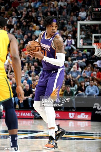 Richaun Holmes of the Phoenix Suns handles the ball against the Utah Jazz on February 6 2019 at Vivint Smart Home Arena in Salt Lake City Utah NOTE...