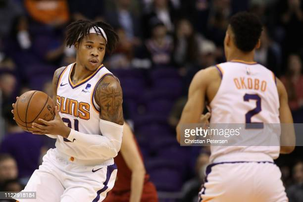 Richaun Holmes of the Phoenix Suns handles the ball during the first half of the NBA game against the Houston Rockets at Talking Stick Resort Arena...