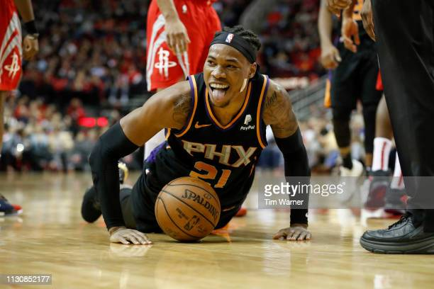Richaun Holmes of the Phoenix Suns reacts after a foul in the second half against the Houston Rockets at Toyota Center on March 15 2019 in Houston...
