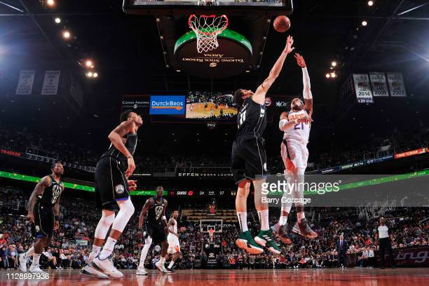 Richaun Holmes of the Phoenix Suns shoots the ball against the Milwaukee Bucks on March 4 2019 at Talking Stick Resort Arena in Phoenix Arizona NOTE...
