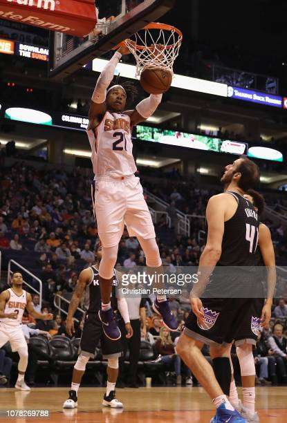 Richaun Holmes of the Phoenix Suns slamdunks the ball against the Sacramento Kings during the second half of the NBA game at Talking Stick Resort...