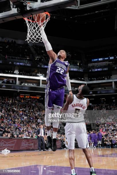 Richaun Holmes of the Sacramento Kings dunks the ball against the Denver Nuggets on October 28 2019 at Golden 1 Center in Sacramento California NOTE...
