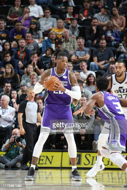 Richaun Holmes of the Sacramento Kings handles the ball against the Utah Jazz on October 14 2019 at vivintSmartHome Arena in Salt Lake City Utah NOTE...