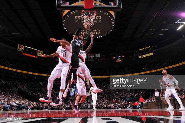 Richaun Holmes of the Sacramento Kings shoots the ball during the game against the Portland Trail Blazers on October 20, 2021 at the Moda Center...