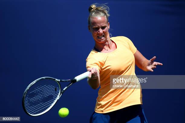 Richel Hogenkamp of Holland in action during her women's qualifying match against Lara Arruabarrena of Spain during qualifying on day one of the...