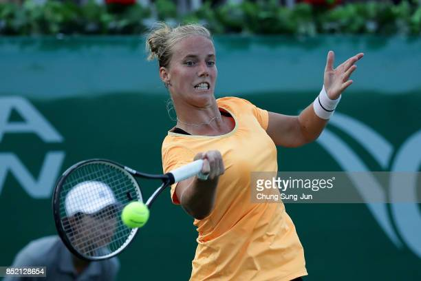 Richel Hogenkamp of Netherlands plays a shot against Beatriz Haddad Maia of Brazil during day six of the KEB Hana Bank Incheon Airport Korea Open at...