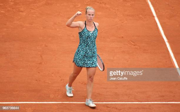 Richel Hogenkamp of the Netherlands during Day Three of the 2018 French Open at Roland Garros on May 29 2018 in Paris France