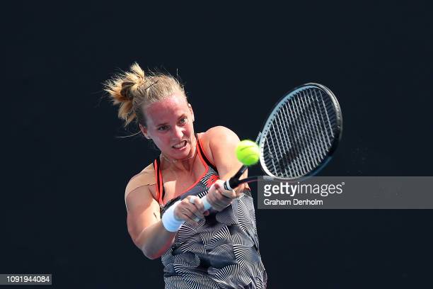 Richel Hogenkamp of the Netherlands plays a backhand in her match against Isabelle Wallace of Australia during day three of Qualifying ahead of the...