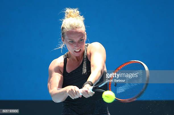 Richel Hogenkamp of the Netherlands plays a backhand in her match against Qiang Wang of China during the third round of 2016 Australian Open...