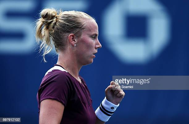 Richel Hogenkamp of the Netherlands reacts against Heather Watson of the United Kingdom during her first round Women's Singles match on Day Two of...